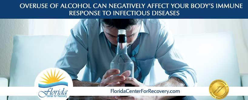 Overuse of alcohol can negatively affect your body's immune response to infectious diseases